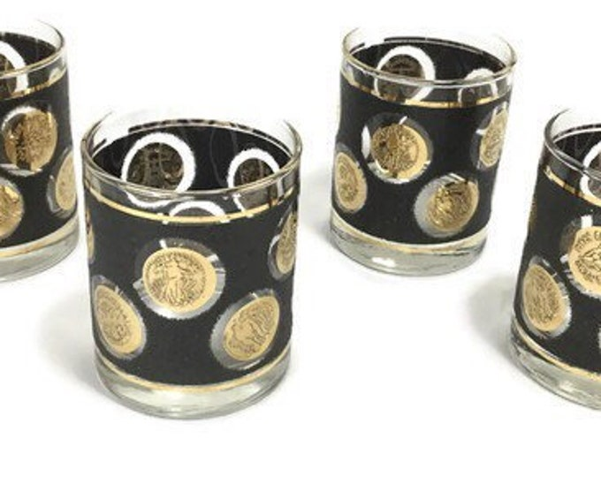 Vintage Libbey Gold Coins Bar Glasses * Double Old Fashioned Set of 4