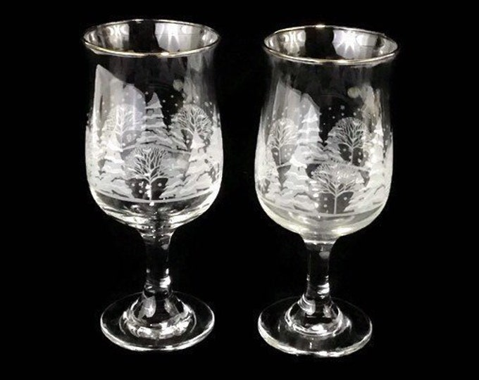 1980's Collectible Arbys 'Winter Wonderland' Etched Trees Water Glasses * Stemware