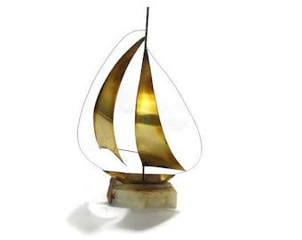 Vintage Mixed Metal Sailboat * Nautical Beach Decor * Boat Sculpture