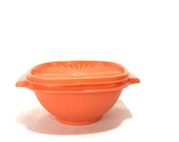 Tupperware Orange #840 Servalier Bowl with Lid