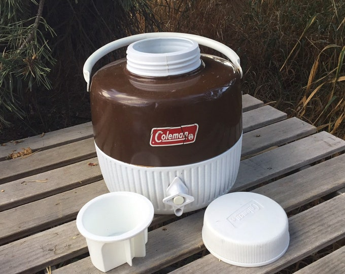 Vintage Brown Coleman Insulated Jug * 1 Gallon Thermos * Picnic Supplies