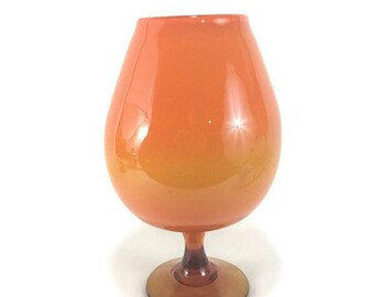 Large Mid-Century Ombré Orange and Amber Art Glass Brandy Snifter * Cased Balloon Vase
