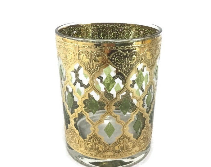 Vintage Valencia Tumbler * Mid Century Gold Filagree Barware