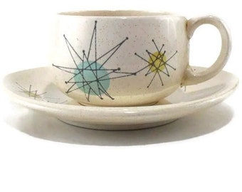Flat Cup and Saucer * 'TV' Backstamp Franciscan Starburst  * Atomic Age