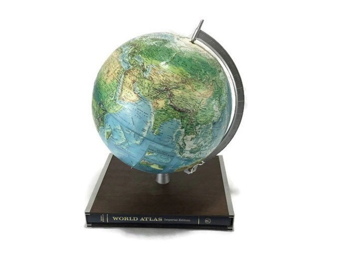 Vintage Earth Globe *Ocean Topography * 1960's Rand McNally International Globe with World Atlas * Cold War Era