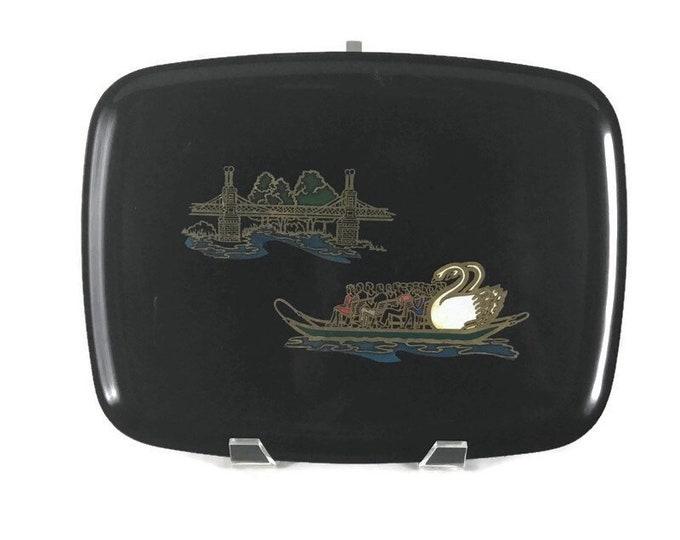 Couroc Serving Tray * Boston Commons Swan Boat * Brass Inlay * Boston Public Garden