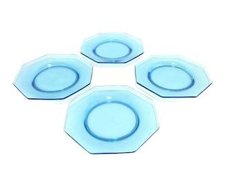 "8""  Hazel Atlas Octagonal Salad Plates * Aqua Azure Capri Turquoise Blue Set of 4"