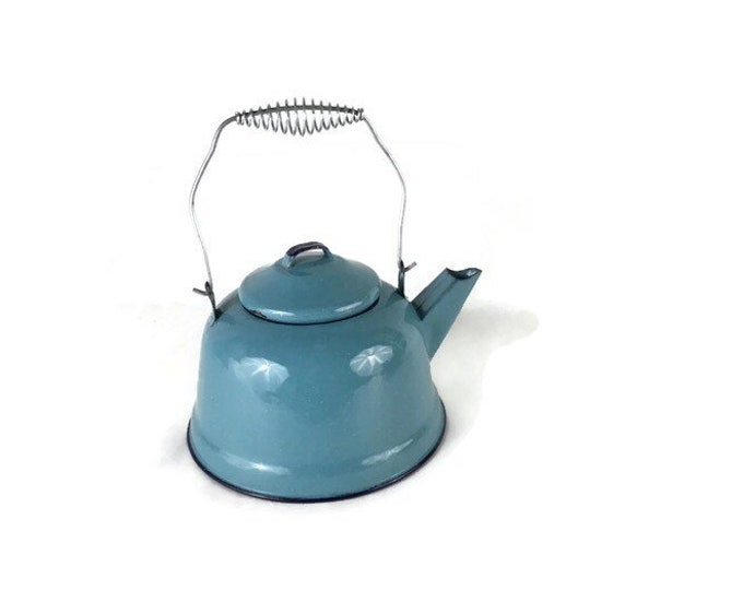 Aqua Blue Enamel Tea Kettle * Turquoise Teapot