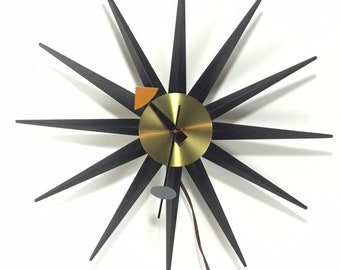 Working Starburst Spike Clock * George Nelson for Howard Miller * Mid-Century Modern Electric Wall Clock