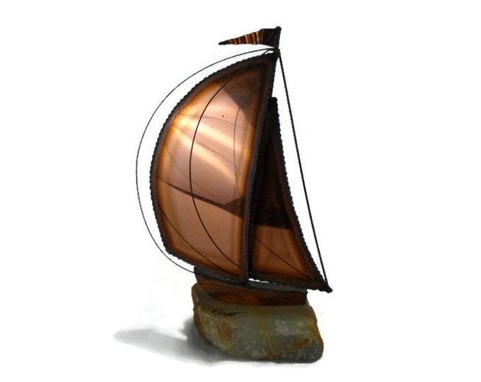 Vintage DeMott Mixed Metal Sailboat * Nautical Beach Decor * Sculpture