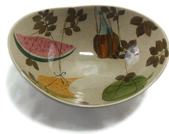 Vintage Red Wing Large Salad Serving Bowl * Tampico * Watermelon * Hanging Melon * Red Wine