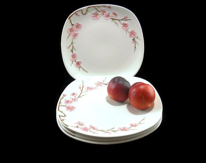 Vintage Poppytrail Peach Blossom Dinner Plates * Set of 4 * Cottage Chic Plates