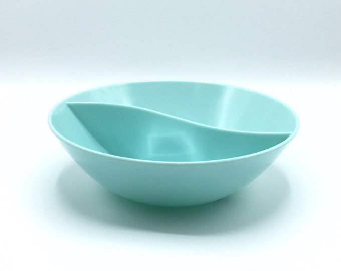 Vintage Turquoise Marcrest Melmac Divided Serving Bowl