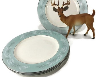 "Homer Laughlin Cavalier ""Romance"" Dinner Plates * Frosty Holly on Aqua Band and Platinum Trim"