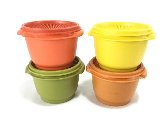 Vintage Tupperware #886 Storage Containers & Lids * Set of 4 Harvest Colors