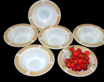 Vintage Anchor Hocking * Fire King Place Setter *Athena Harvest Fruit Bowls * Set of 6