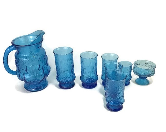 Vintage Anchor Hocking Rainwater Drinkware * Laser Blue * Pitcher or Tumblers * Sold Individually