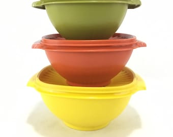 Vintage Tupperware Servalier Set of 3 Harvest Colors