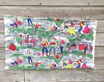 Vintage Western Barkcloth Fabric * Country Square Dance