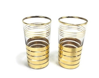 Vintage 22K Gold Band Glass Tumblers * Mid Century Modern * Sold in Sets