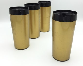 Vintage West Bend Thermo Serv Insulated Tumblers * Set of 4