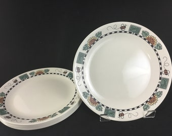 """Vintage Corelle 10-1/4"""" Dinner Plate * Sunblossoms  * Sold Individually or in Set of 4 or 8 * Sunflower * Bee * Seeds"""