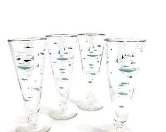 Vintage Mediterranean 'Atomic Fish' Beer Pilsners * MCM Cocktail Glasses * Set of 4 * Libbey Glass Co.