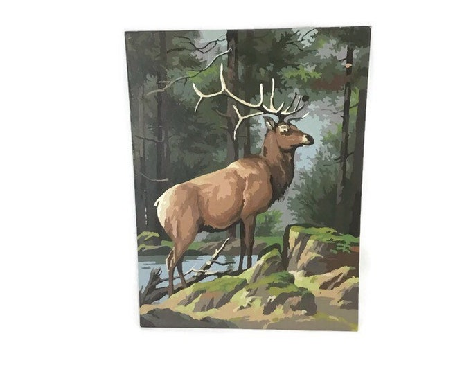 Vintage Paint by Numbers Elk Painting * Forest Scene