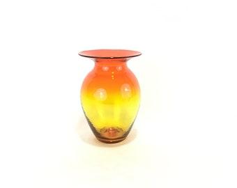 Blenko Hand Blown Amberina Art Glass Vase