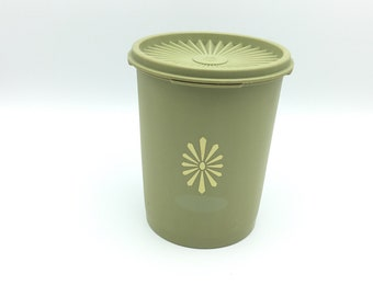 Vintage Tupperware #811 Canister with Lid * Sage Green Kitchen Storage Container