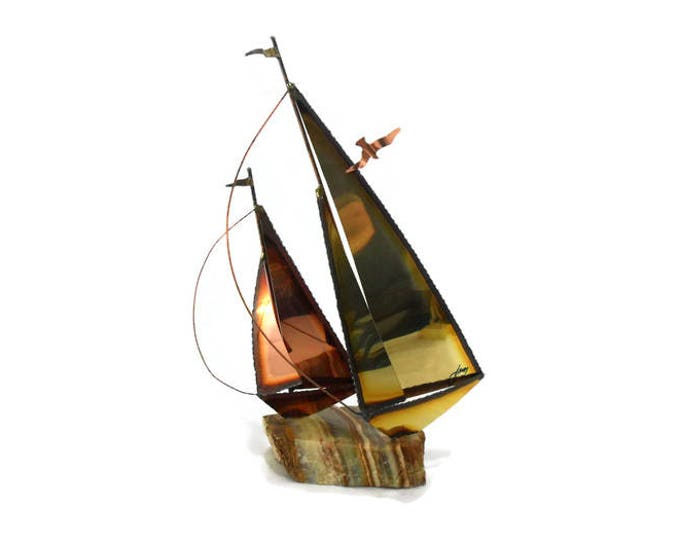 Vintage Mixed Metal Sailboat * Mario Jason Signed * Nautical Beach Decor * Boat Sculpture