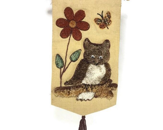 Vintage Latch Hook Wall Hanging * Groovy Owl