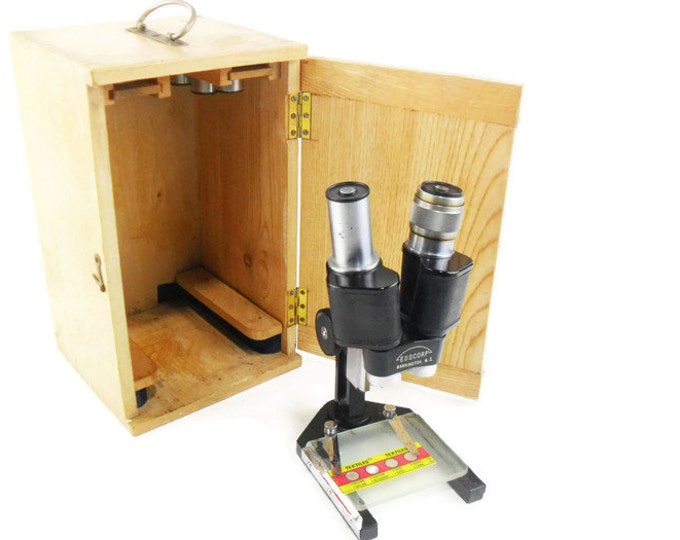 Vintage Microscope Stereo Dissecting with Wood Case