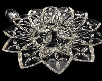 Vintage Federal Glass Petal Candleholder * Your Choice of Underplate Only Or 2-Piece CandleLamp (Underplate and Chimney)