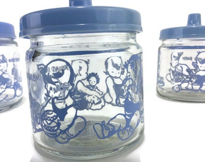 Vintage Glass Storage Jars * Around the Clock with Baby * Set of 3
