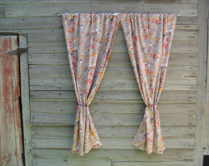 Vintage Curtain Panels * Old West Cowboy Scene
