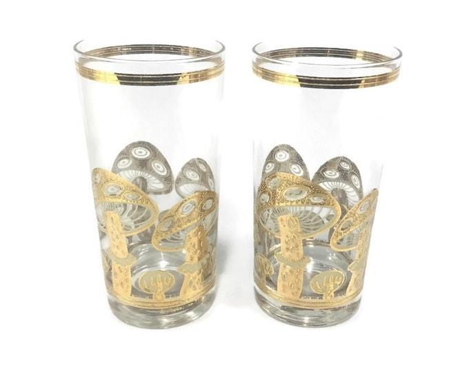 Vintage Culver Flat Tumbler Cocktail Glass * 22 K Gold Mushroom * Set of 2