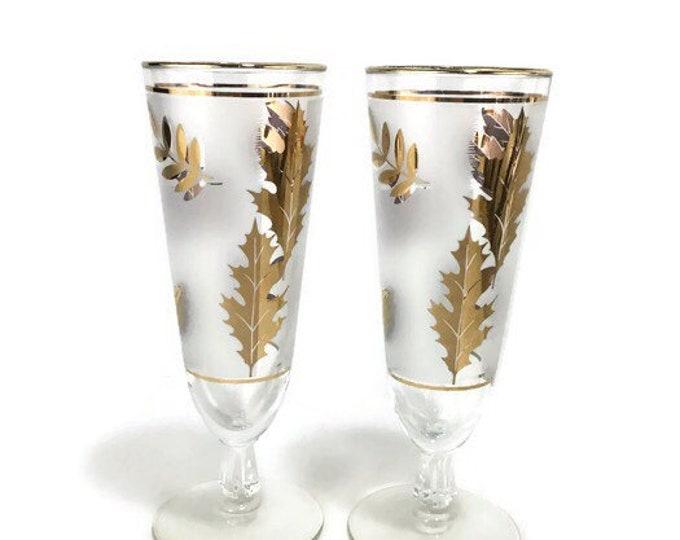 Vintage Gold Leaves Beer Pilsners * MCM Cocktail Glasses * Set of 2 * Libbey Glass Co.