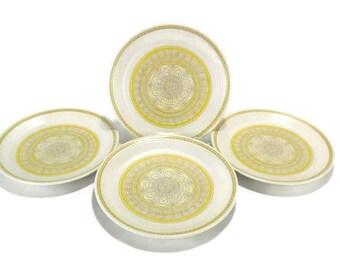 Vintage Franciscan Hacienda Gold Dinner Plates * Set of 4 * Mod Flower Power