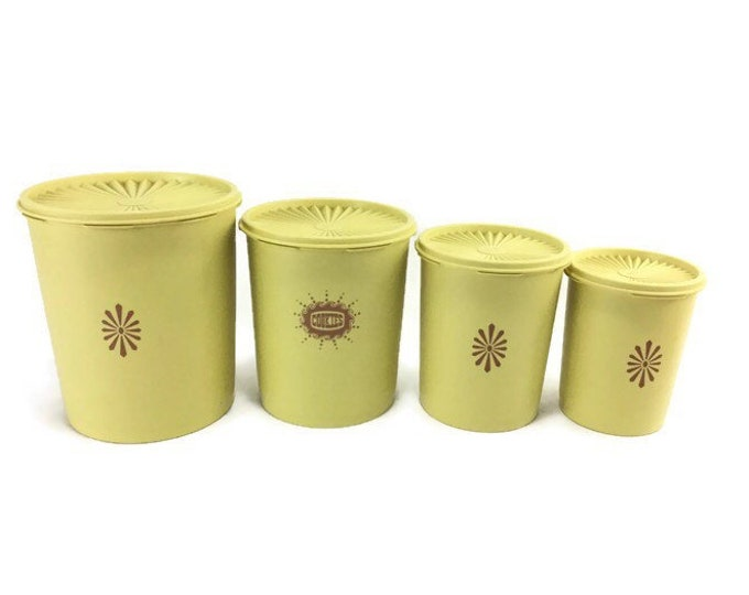 Vintage Yellow Tupperware Servalier Canisters with Lids * Set of 4 * Nesting Kitchen Storage Containers