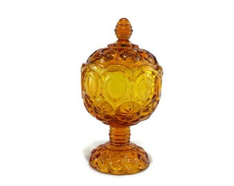 LE Smith Moon and Stars Covered Candy Dish * Honey Amber Stemmed Compote