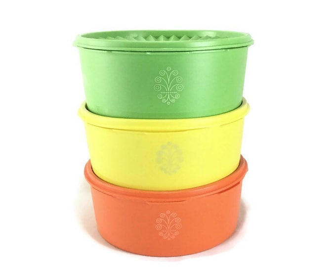 Set of 3 Tupperware Citrus Colored #1240 Servalier Containers with Lids