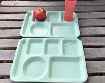 Vintage Compartmented Food Tray * Set of 2