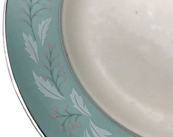 "Homer Laughlin Cavalier ""Romance"" Bread and Butter Plates * Frosty Foliage and Pink Berries on Aqua Band"