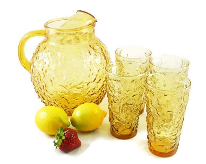 1970s Lido Milano Crinkle Glass Ball Pitcher and 4 Large Tumblers