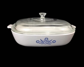 """10"""" Skillet and Lid * Corning P-10-B Cornflower Blue Baking Dish * Storage Container"""
