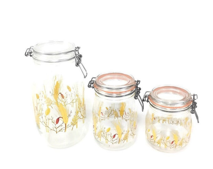 Vintage Kitchen Canisters * Wheat Storage Jars * Set of 3