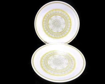 Vintage Franciscan Hacienda Gold Dinner Plates * Set of 2 * Mod Flower Power