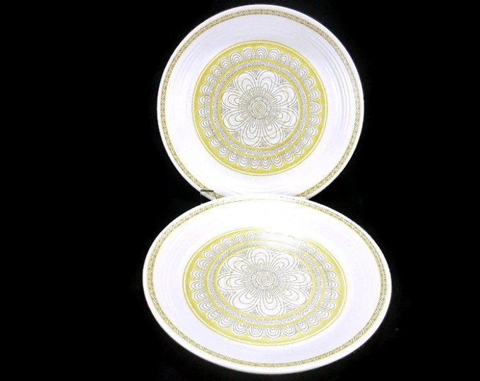 Vintage Franciscan Hacienda Gold Dinner Plates * Set of 2 * Mod Flower Power
