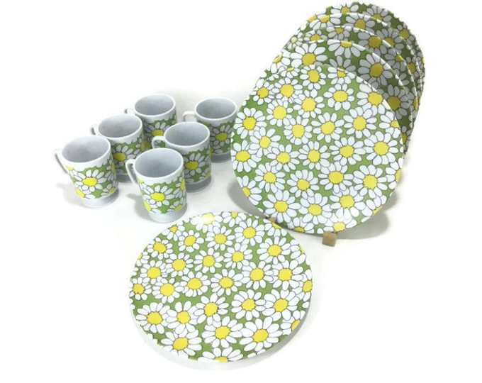 Mod Flower Power Texasware Plates and Cups * Set of 6